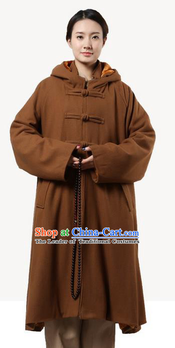 Top Grade Kung Fu Costume Martial Arts Woolen Pulian Clothing Light Tan Long Coat, Gongfu Shaolin Wushu Tai Chi Tang Suit Meditation Dust Coat for Women for Men