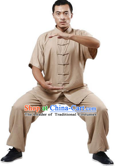 Traditional Chinese Kung Fu Costume Martial Arts Linen Khaki Suits Pulian Meditation Clothing, Tang Suit Plated Buttons Uniforms Tai Chi Clothing for Women for Men