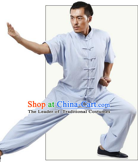 Traditional Chinese Kung Fu Costume Martial Arts Linen Blue Suits Pulian Meditation Clothing, Tang Suit Plated Buttons Uniforms Tai Chi Clothing for Women for Men