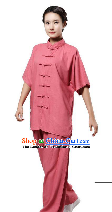Traditional Chinese Kung Fu Costume Martial Arts Linen Rose Suits Pulian Meditation Clothing, Tang Suit Plated Buttons Uniforms Tai Chi Clothing for Women