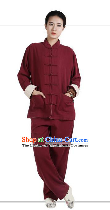 Traditional Chinese Kung Fu Costume Martial Arts Wine Red Ramine Suits Pulian Meditation Clothing, Tai Ji Uniforms Wushu Tai Chi Zen Clothing for Women for Men