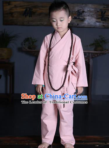 Traditional Chinese Kung Fu Costume Martial Arts Litter Monk Suits Pulian Meditation Clothing, Children Tang Suit Uniforms Tai Chi Pink Clothing for Kids