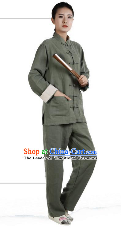 Traditional Chinese Kung Fu Costume Martial Arts Green Ramine Suits Pulian Meditation Clothing, Tai Ji Uniforms Wushu Tai Chi Zen Clothing for Women for Men