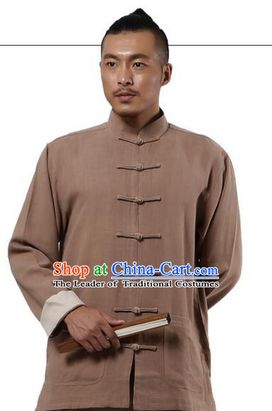 Traditional Chinese Kung Fu Costume Martial Arts Khaki Ramine Suits Pulian Meditation Clothing, Tai Ji Uniforms Wushu Tai Chi Zen Clothing for Women for Men