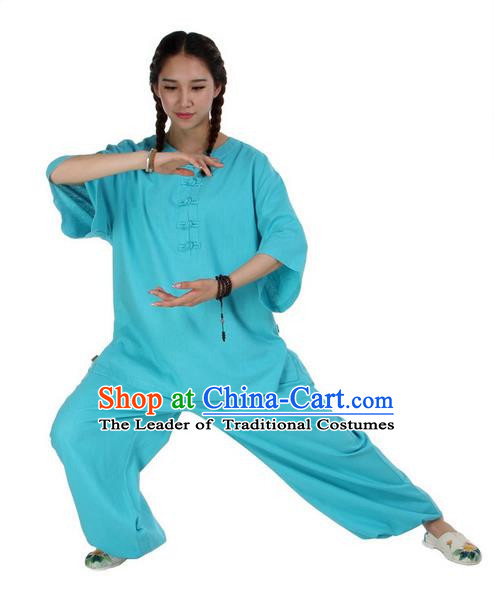 Traditional Chinese Kung Fu Costume Martial Arts Linen Suits Pulian Meditation Clothing, China Tang Suit Uniforms Tai Chi Blue Clothing for Women