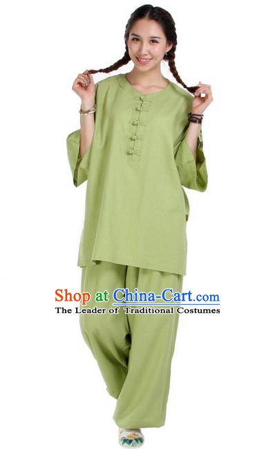 Traditional Chinese Kung Fu Costume Martial Arts Linen Suits Pulian Meditation Clothing, China Tang Suit Uniforms Tai Chi Green Clothing for Women