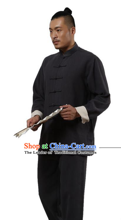 Traditional Chinese Kung Fu Costume Martial Arts Black Ramine Suits Pulian Meditation Clothing, Tai Ji Uniforms Wushu Tai Chi Zen Clothing for Women for Men