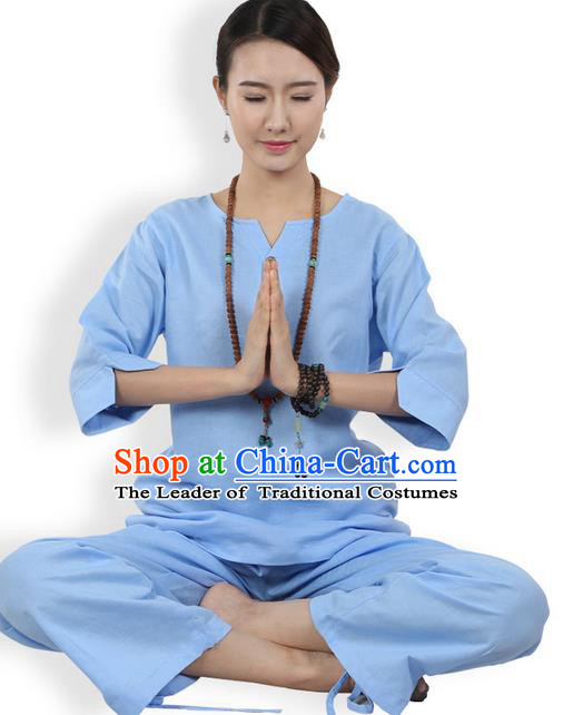 Traditional Chinese Kung Fu Costume Martial Arts Linen Blue Suits Pulian Meditation Clothing, China Tang Suit Yoga Uniforms Tai Chi Clothing for Women