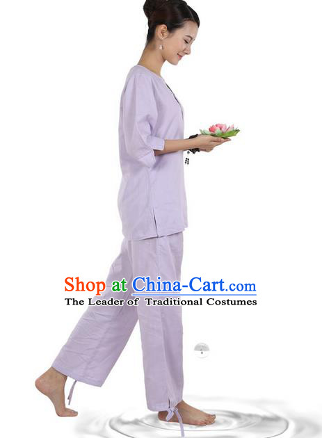 Traditional Chinese Kung Fu Costume Martial Arts Linen Light Purple Suits Pulian Meditation Clothing, China Tang Suit Yoga Uniforms Tai Chi Clothing for Women