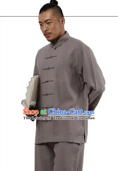 Traditional Chinese Kung Fu Costume Martial Arts Grey Ramine Suits Pulian Meditation Clothing, Tai Ji Uniforms Wushu Tai Chi Zen Clothing for Men