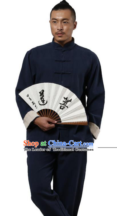 Traditional Chinese Kung Fu Costume Martial Arts Navy Ramine Suits Pulian Meditation Clothing, Tai Ji Uniforms Wushu Tai Chi Zen Clothing for Men