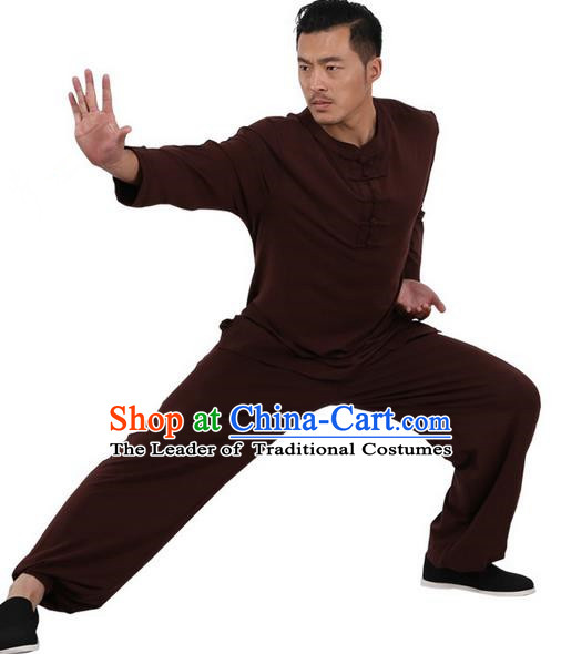 Traditional Chinese Kung Fu Costume Martial Arts Linen Plated Buttons Coffee Suits Pulian Meditation Clothing, China Tang Suit Uniforms Tai Chi Clothing for Men
