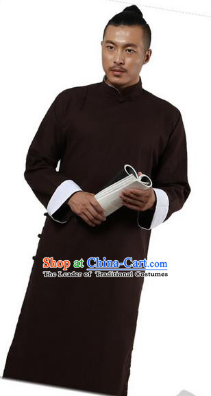 Traditional Chinese Kung Fu Costume Martial Arts Linen Plated Buttons Coffee Long Robe Pulian Clothing, China Tang Suit Long Flown Tai Chi Clothing for Men