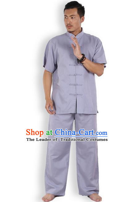 Traditional Chinese Kung Fu Costume Martial Arts Ice Silk Linen Short Sleeve Grey Suits Pulian Clothing, China Tang Suit Uniforms Tai Chi Meditation Clothing for Men