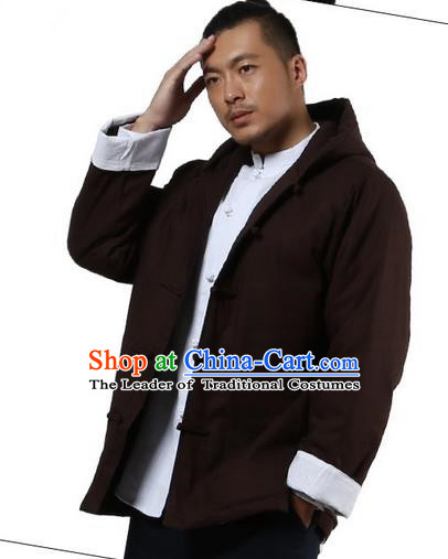 Traditional Chinese Kung Fu Costume Martial Arts Linen Hooded Coat Pulian Clothing, China Tang Suit Jackets Tai Chi Meditation Coffee Overcoat Clothing for Men