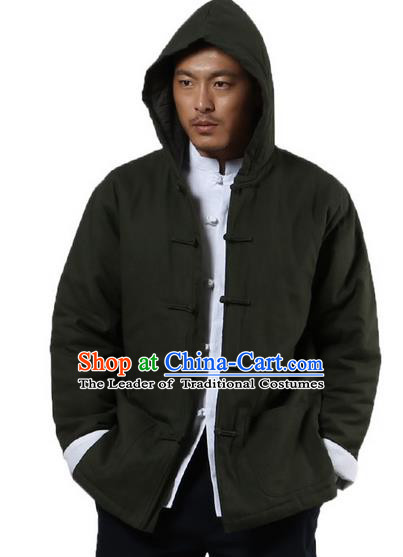 Traditional Chinese Kung Fu Costume Martial Arts Linen Hooded Coat Pulian Clothing, China Tang Suit Jackets Tai Chi Meditation Army Green Overcoat Clothing for Men