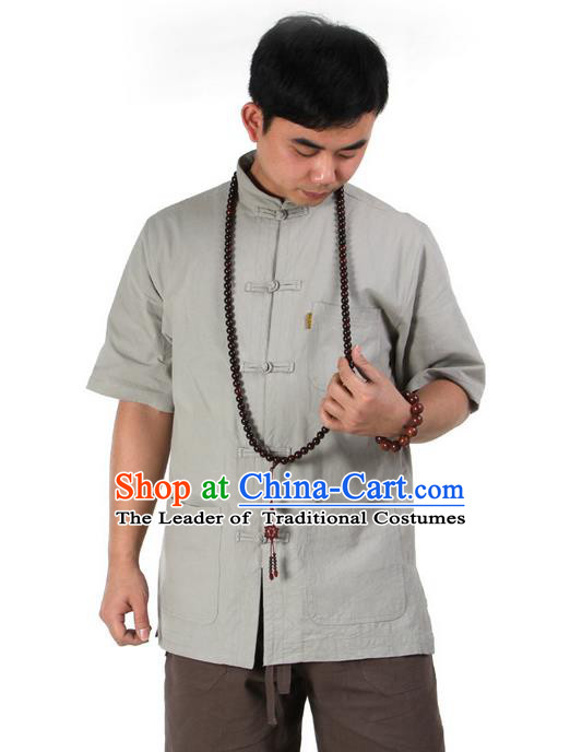 Traditional Chinese Kung Fu Costume Martial Arts Linen Short Sleeve Shirts Pulian Clothing, China Tang Suit T-Shirt Tai Chi Meditation Green Overshirt for Men