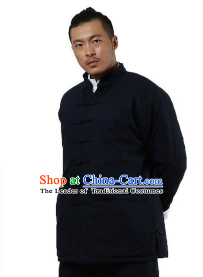 Traditional Chinese Kung Fu Costume Martial Arts Linen Plated Buttons Coat Pulian Clothing, China Tang Suit Jackets Tai Chi Meditation Navy Overcoat Clothing for Men
