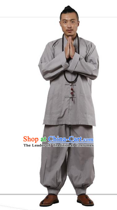 Traditional Chinese Kung Fu Costume Martial Arts Linen Plated Buttons Grey Suits Pulian Clothing, China Tang Suit Uniforms Tai Chi Monk Meditation Clothing for Men
