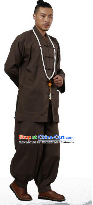 Traditional Chinese Kung Fu Costume Martial Arts Linen Plated Buttons Coffee Suits Pulian Clothing, China Tang Suit Uniforms Tai Chi Monk Meditation Clothing for Men