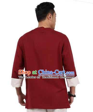Traditional Chinese Kung Fu Costume Martial Arts Linen Plated Buttons Wine Red Shirts Pulian Clothing, China Tang Suit Jacket Tai Chi Meditation Upper Outer Garment for Men