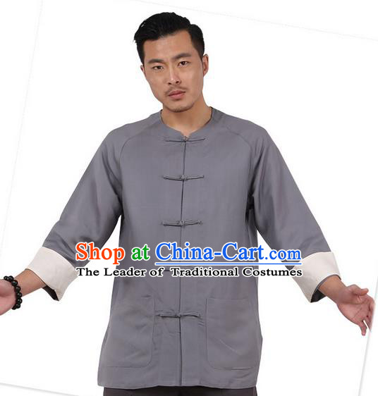 Traditional Chinese Kung Fu Costume Martial Arts Linen Plated Buttons Grey Shirts Pulian Clothing, China Tang Suit Jacket Tai Chi Meditation Upper Outer Garment for Men
