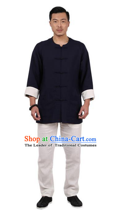 Traditional Chinese Kung Fu Costume Martial Arts Linen Plated Buttons Navy Shirts Pulian Clothing, China Tang Suit Jacket Tai Chi Meditation Upper Outer Garment for Men