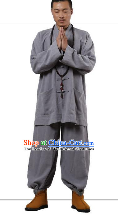 Traditional Chinese Kung Fu Costume Martial Arts Ramie Long Sleeve Light Grey Plated Buttons Uniforms Pulian Clothing, China Tang Suit Tai Chi Meditation Clothing for Men