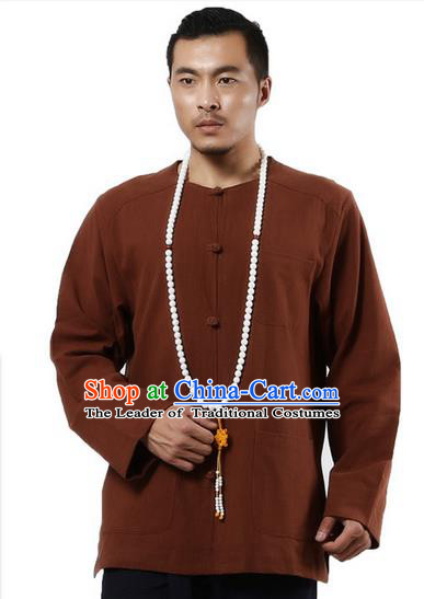 Traditional Chinese Kung Fu Costume Martial Arts Ramie Long Sleeve Shirts Pulian Clothing, China Tang Suit Tai Chi Meditation Coffee Overshirts for Men