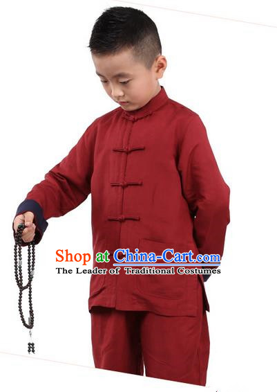 Traditional Chinese Kung Fu Costume, Children Martial Arts Linen Long Sleeve Suits Pulian Clothing, China Tang Suit Tai Chi Meditation Red Uniforms for Kids