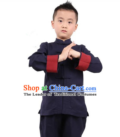 Traditional Chinese Kung Fu Costume, Children Martial Arts Linen Long Sleeve Suits Pulian Clothing, China Tang Suit Tai Chi Meditation Navy Uniforms for Kids