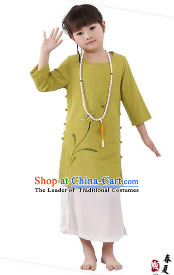 Traditional Chinese Cheongsam Costume, Children Meditation Linen Dress Pulian Clothing, China Tang Suit Tai Chi Zen Painting Lotus Green Dress for Kids