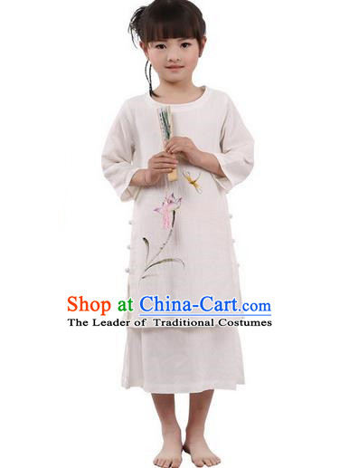 Traditional Chinese Cheongsam Costume, Children Meditation Linen Dress Pulian Clothing, China Tang Suit Tai Chi Zen Painting Lotus Beige Dress for Kids