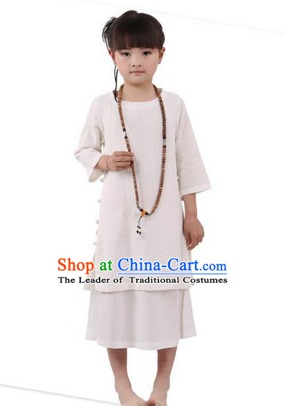 Traditional Chinese Cheongsam Costume, Children Meditation Linen Dress Pulian Clothing, China Tang Suit Tai Chi Zen Beige Dress for Kids