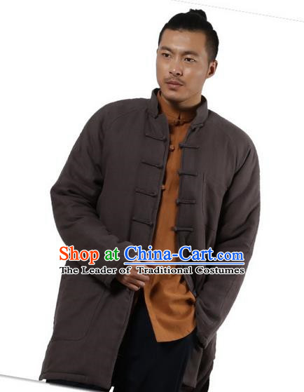 Traditional Chinese Kung Fu Costume Martial Arts Linen Plated Buttons Cotton-padded Coats Pulian Clothing, China Tang Suit Grey Jacket Tai Chi Meditation Upper Outer Garment for Men