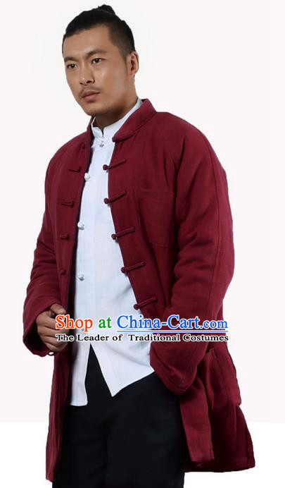 Traditional Chinese Kung Fu Costume Martial Arts Linen Plated Buttons Cotton-padded Coats Pulian Clothing, China Tang Suit Red Jacket Tai Chi Meditation Upper Outer Garment for Men