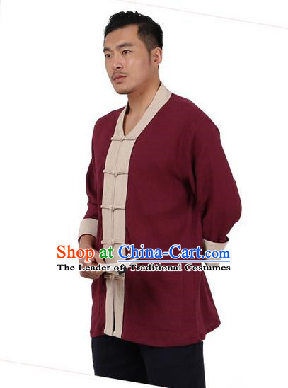 Traditional Chinese Kung Fu Costume Martial Arts Linen Plated Buttons Shirts Pulian Clothing, China Tang Suit Tai Chi Overshirt Red Upper Outer Garment for Men