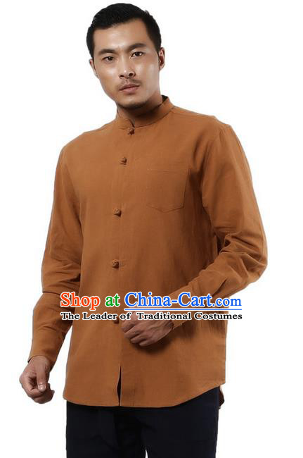 Traditional Chinese Kung Fu Costume Martial Arts Linen Plated Buttons Shirts Pulian Clothing, China Tang Suit Tai Chi Stand Collar Overshirt Khaki Upper Outer Garment for Men