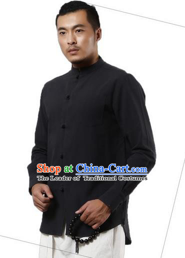 Traditional Chinese Kung Fu Costume Martial Arts Linen Plated Buttons Shirts Pulian Clothing, China Tang Suit Tai Chi Stand Collar Overshirt Deep Grey Upper Outer Garment for Men