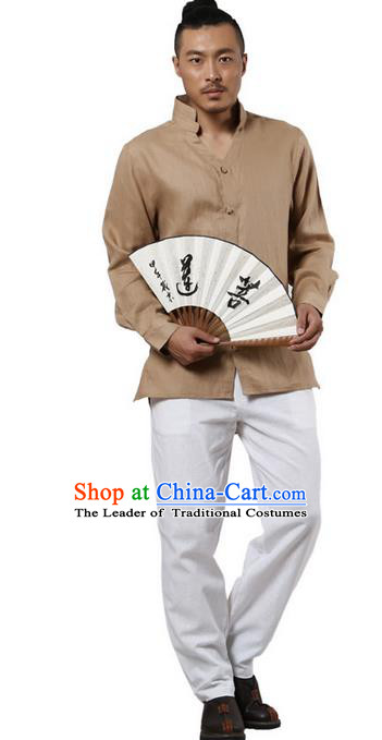 Traditional Chinese Kung Fu Costume Martial Arts Linen Stand Collar Shirts Pulian Clothing, China Tang Suit Tai Chi Overshirt Khaki Upper Outer Garment for Men