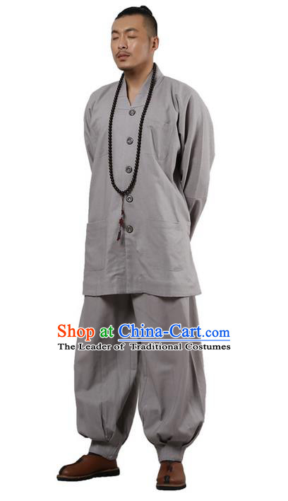 Traditional Chinese Kung Fu Costume Martial Arts Linen Long Sleeve Grey Monk Uniforms Pulian Clothing, China Tang Suit Tai Chi Meditation Clothing for Men