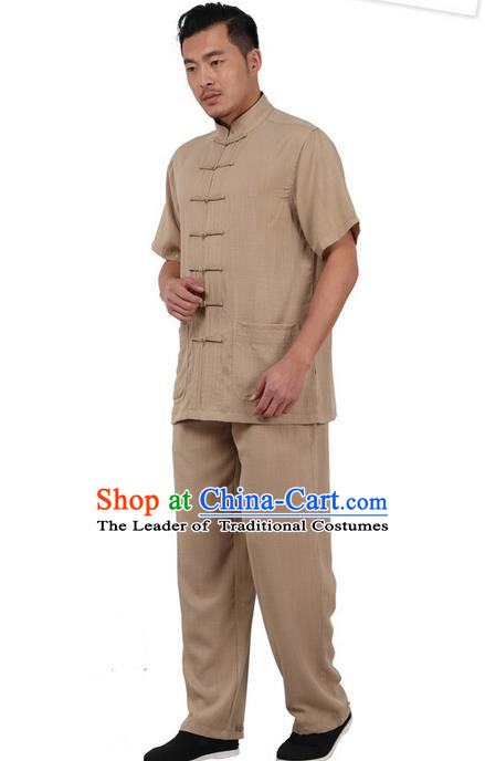 Traditional Chinese Kung Fu Costume Martial Arts Linen Plated Buttons Short Sleeve Khaki Uniforms Pulian Clothing, China Tang Suit Tai Chi Meditation Clothing for Men