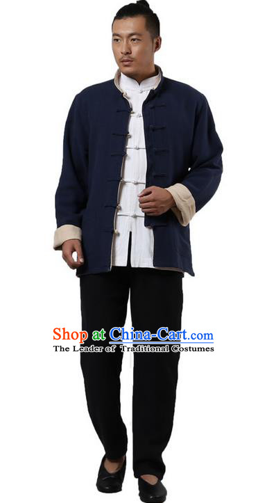 Traditional Chinese Kung Fu Costume Martial Arts Linen Double Side Coats Pulian Clothing, China Tang Suit Tai Chi Overcoat Beige and Navy Jackets for Men