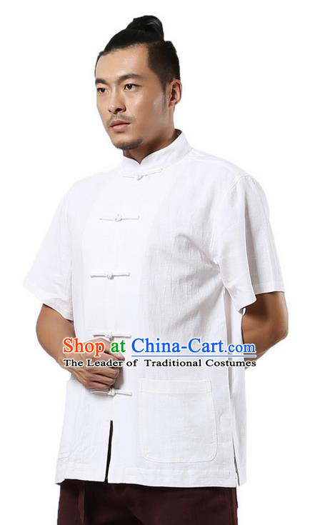 Traditional Chinese Kung Fu Costume Martial Arts Linen Short Sleeve Shirts Pulian Clothing, China Tang Suit Tai Chi Upper Outer Garment White Overshirt for Men