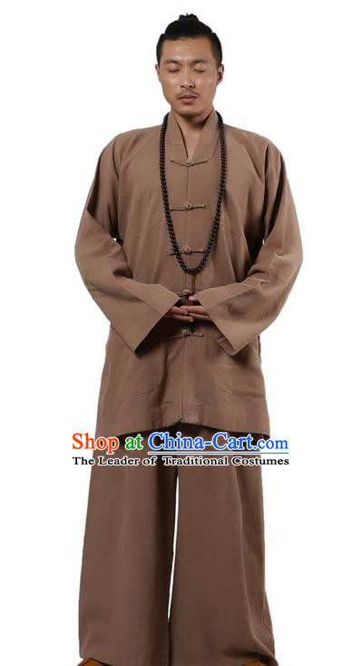 Traditional Chinese Kung Fu Costume Martial Arts Ramie Long Sleeve Khaki Plated Buttons Uniforms Pulian Clothing, China Tang Suit Tai Chi Meditation Clothing for Men