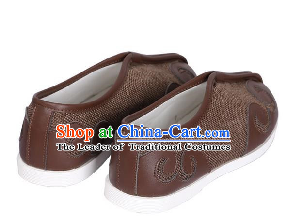 Top Chinese Traditional Tai Chi Brown Linen Shoes Kung Fu Pulian Shoes Martial Arts Shoes for Men