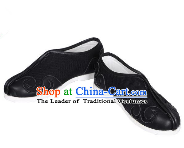 Top Chinese Traditional Tai Chi Black Linen Shoes Kung Fu Pulian Shoes Martial Arts Shoes for Men