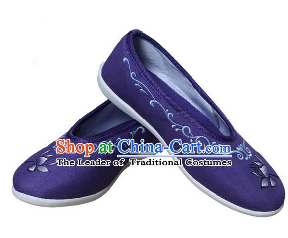 Top Chinese Traditional Tai Chi Embroidered Lotus Linen Shoes Kung Fu Pulian Shoes Martial Arts Purple Shoes for Women