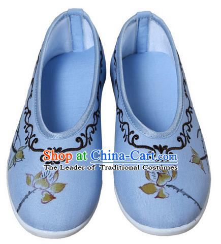 Top Chinese Traditional Tai Chi Embroidered Lotus Linen Shoes Kung Fu Pulian Shoes Martial Arts Blue Shoes for Women