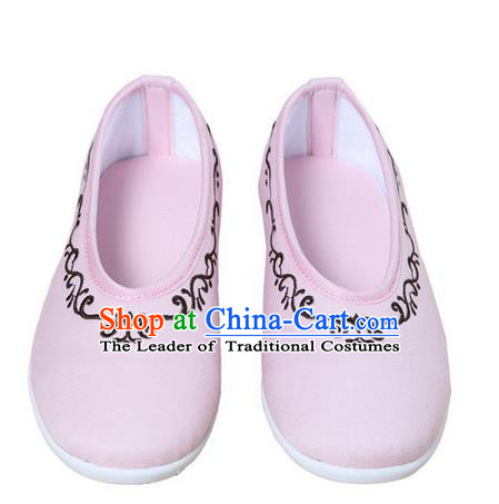 Top Chinese Traditional Tai Chi Embroidered Linen Shoes Kung Fu Pulian Shoes Martial Arts Pink Shoes for Women